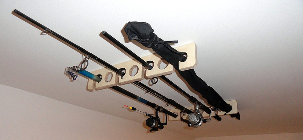 ceiling-mounted-fishing-wooden-rod-holder