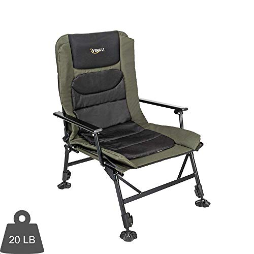 VINGLI Professional Fishing Chair Foldable,180° Adjustable Reclining Mesh Padded Motivate,Outdoors Heavy Duty Tenting/Picnic/Mountain hiking/Beach Stool,Reinforce 350LBS,w/Metal Armrest,Free Sturdy Carry Acquire
