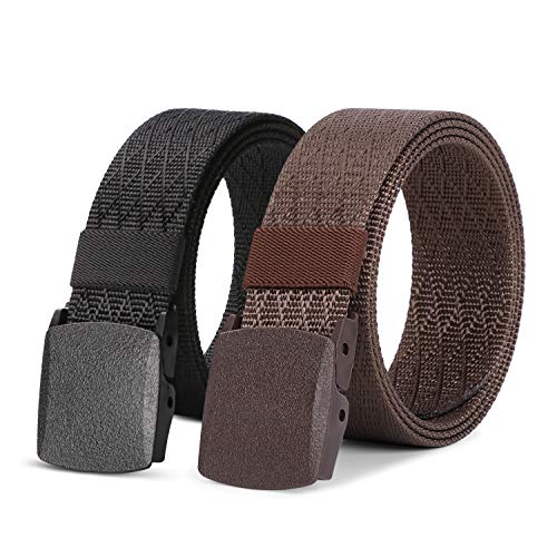 2 Pack Mens Nylon Belt Webbing, Exterior Protection power Belt 1.5 Scurry Tactical Belt (C Pattern Murky+espresso, Fit Pants 46-54in)