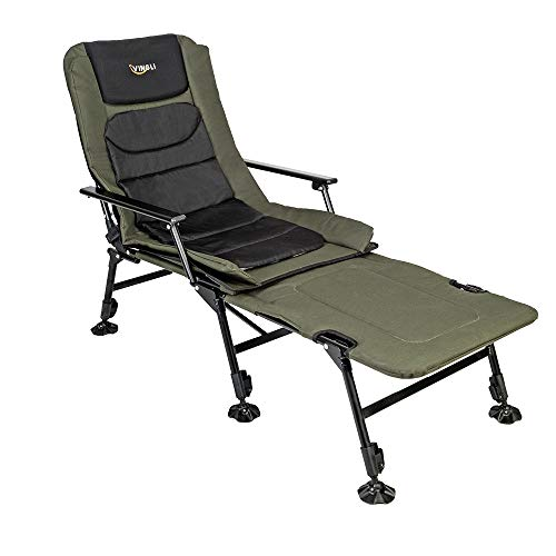 VINGLI Folding Fishing Chair Plus Foot Leisure Attachment,Widen 48×22 hotfoot XXL Size, 180° Adjustable Reclining Mesh Padded Reduction, Exterior Tenting/Seaside Transportable Stool, Reinforce 350LBS, with Elevate Bring together