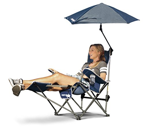 Sport-Brella 3-Characteristic Recliner Chair with Removable Umbrella and Footrest, Dead night Blue