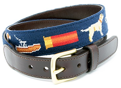Sportsman Needlepoint Men's Belt Hand-stitched Using Top Tremendous Cotton on Stout Grain Leather-essentially essentially based completely Backing (Size 40)