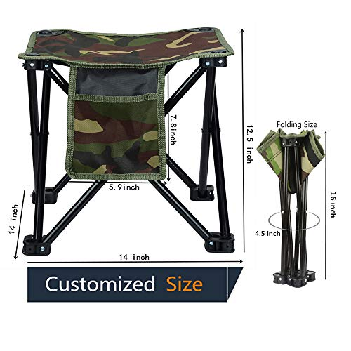 LUCKY CUP Folding Stool Fishing Stool Transportable Tenting Stool with Lift Accumulate for Shuttle Mountain hiking Gardening Picnic Sea accelerate BBQ Tidy Size 12.5 inches