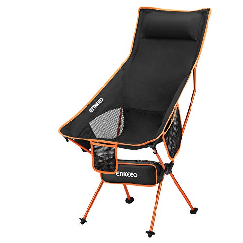 ENKEEO Tenting Folding Chair Portable Lightweight Mesh Seat with 330 lbs Ability, Constructed-in Pillow, 3 Pockets, Backrest and Elevate Web for Backpacking, Fishing, Hiking, Picnic, Tear back and forth and Beach- Orange