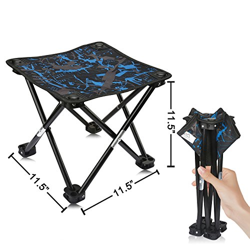 AILLOVCOL Mini Transportable Folding Stool,Folding Camping Stool, Originate air Folding Chair for BBQ,Camping,Fishing,Poke back and forth,Hiking,Garden,Shoreline,Oxford Fabric Seat with Elevate Acquire,11.5″x11.5″x11.5″(Masks)