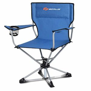 Goplus Swivel Tenting Chair w/Cup Holder & Carrying Salvage, Foldable 360-stage Free Rotation Chair for Fishing Picnic Mountain hiking (Blue)