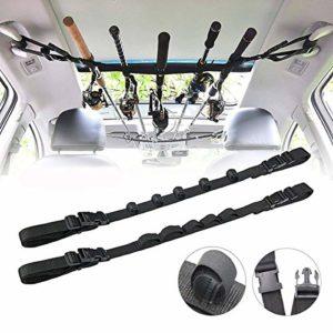 Hosmide Automobile Fishing Rod Holder,Nylon Fishing Rod Rack,Automobile Fishing Rod Carrier Belt Strap (Shadowy)
