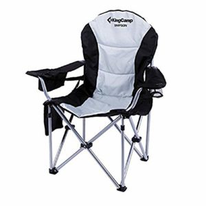 KingCamp Tenting Chair Heavy Accountability Lumbar Abet Pork up Oversized Quad Arm Chair Padded Folding Deluxe with Cooler Armrest Cup Holder, Helps 350 lbs