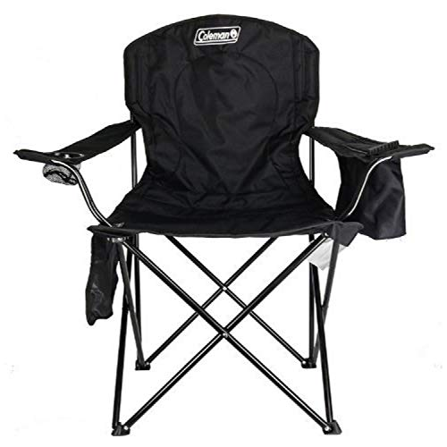 Coleman Tenting Chair|Tailgating Chair with Cooler|Seaside Chair with Cooler|Portable Quad Chair with a 4-can cooler for tailgating, tenting, and the Initiate air