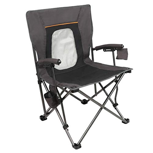 PORTAL Camping Chair Folding Moveable Quad Mesh Attend with Cup Holder Pocket and Laborious Armrest, Helps 300 Lbs, Murky, Peculiar