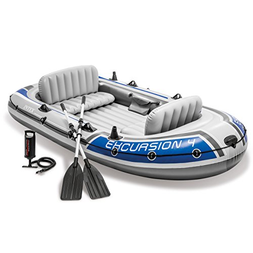Intex Tour 4, 4-Individual Inflatable Boat Plot with Aluminum Oars and Excessive Output Air Pump (Most up-to-date Model)