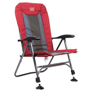 Trees Ridge TRFCH011LA Tenting Chair Folding Heavy Accountability with Adjustable Reclining Padded Serve and Legs Helps 300lbs for Fishing and Garden, Lava