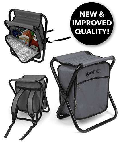 GigaTent Folding Cooler and Stool Backpack – Multifunction Collapsible Camping Seat and Insulated Ice Procure with Padded Shoulder Straps