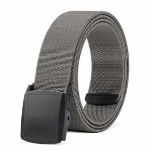 Men Elastic Stretch Net Belt Casual Jeans Waist Belt Adjustable Plastic Buckle Outdoor Belt 42 Lag (6 Gray)