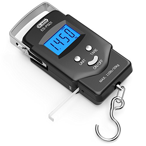 [Backlit LCD Display] Dr.meter PS01 110lb/50kg Electronic Balance Digital Fishing Postal Placing Hook Scale with Measuring Tape, 2 AAA Batteries Incorporated