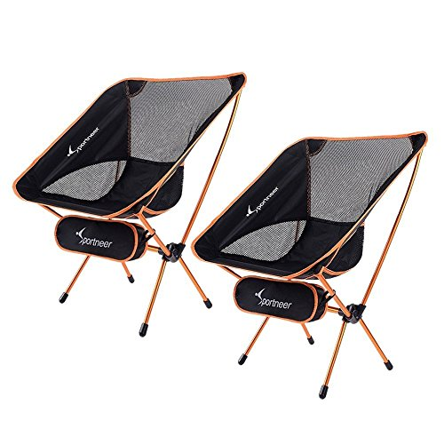 Sportneer Transportable Mild-weight Folding Tenting Chair, 2-Pack for Backpacking, Hiking, Picnic