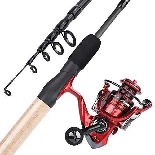 YONGZHI Fishing Rod and Reel Combos,2-Fragment Carbon Fiber Protable Fishing Poles with Spinning Reels for Bass,Trout-Ljhsytz