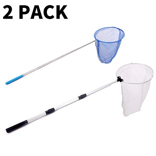 Rngeo 2 Pack Telescopic Butterfly Obtain, Extendable Fishing, Insect Toy Nets for Teens and Family, Aluminum Alloy (Silver Extends to 36 Inches, Blue Extends to 26 Inches, Pack of 2)