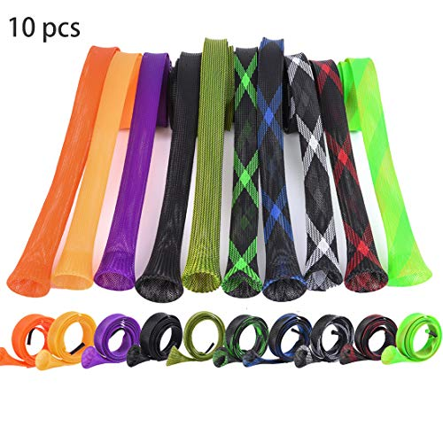 CAPACI Fishing Rod Sleeve Braided Mesh Rod Protector Fishing Rod Sock Conceal Pole Glove Tools 10 Pcs (10pcs 10 Color)