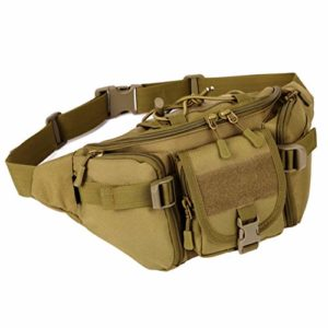 Tactical Waist Pack Gain Portable Fanny Pack Waterproof Out of doors Drag Astronomical Military Waist Gain for Militia Cycling Camping Mountain ice climbing Hunting Fishing Taking a glimpse Each day Existence (Khaki)