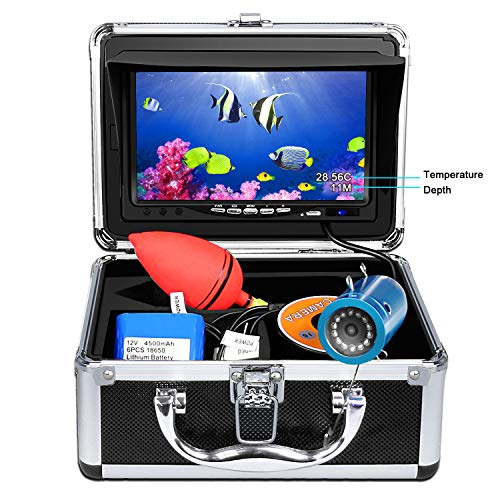 Moveable Underwater Fishing Digital camera,HXEY with Water Depth and Temperature Characteristic IP68 Waterproof 7 Hump HD LCD Video show Fish Finder 12pcs IR Infrared LED with 15m Cable for Ice,Lake,Boat,Sea Fishing