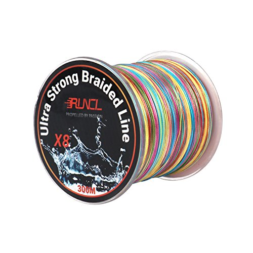 RUNCL Braided Fishing Line with 8 Strands, Fishing Line PE Arena cloth 328Yds/300M with A pair of Colors for Freshwater and Saltwater (328Yds/300M, 40LB(18.1kgs))