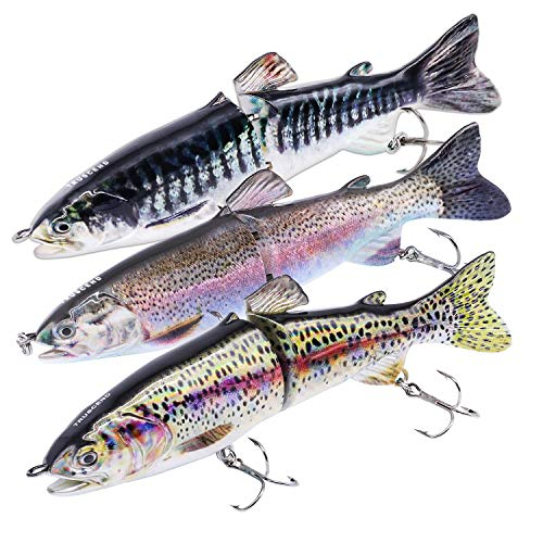 TRUSCEND Fishing Lures for Bass 4.9″ Trout Multi Jointed Swimbaits Leisurely Sinking Engaging Lure Fishing Contend with Kits Reasonable Ice Fishing Augers (D-J2E-combo)