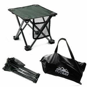 Outrav Camping Stool – Out of doors Walk Folding Runt Chair – Transportable Stool for Camping, Fishing, Mountaineering, Gardening, Seashore – Heavy Accountability, Mild-weight Easy to Lift Camping Seat with Lift Catch (Black)