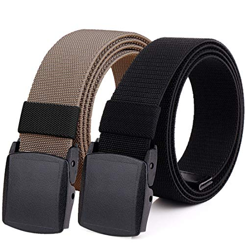 Hoanan 2-Pack Elastic Stretch Belt, Males's Plus Measurement No Steel Nylon Tactical Hiking Belt(shadowy/brown-up to 42″)