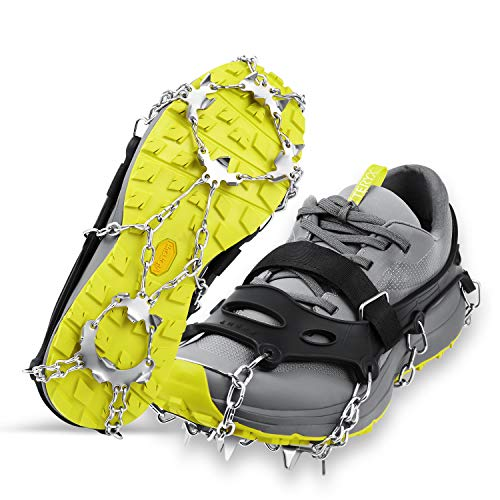 LOPOO Crampons Traction Cleats Ice Snow Grips with 19 Spikes System Steady Offer protection to for Walking, Ice Fishing, Hiking and Hiking on Snow and Ice(Little)