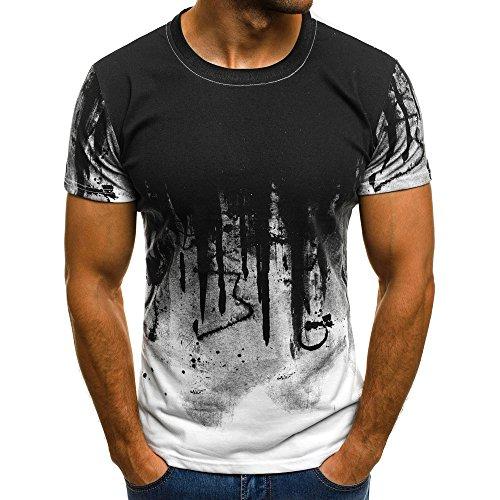 GDJGTA Mens Tee Slim Fit Splashing Ink Print Short Sleeve Muscle Informal Tops Blouse Shirts