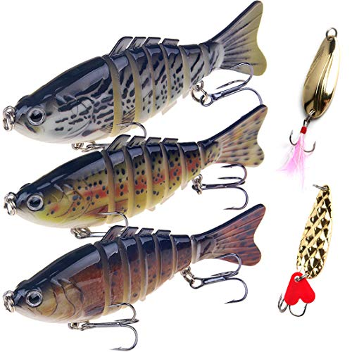 Fishing Lures Bass Lures Predicament,Fishing Lures for Bass Multi Jointed Swim baits Unimaginative Sinking Exhausting Entice Fishing Type out Kits Sensible (3.9)