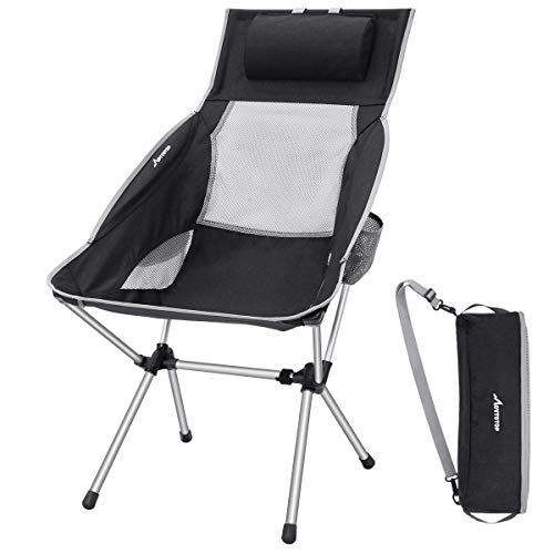 MOVTOTOP Tenting Chair with Adjustable Pillow, Gentle-weight Folding Tenting Chair, Outside Compact Chairs with High Backrest and Raise Bag for Hump, Picnic, Fishing, Festival, Mountain climbing, Backpacking