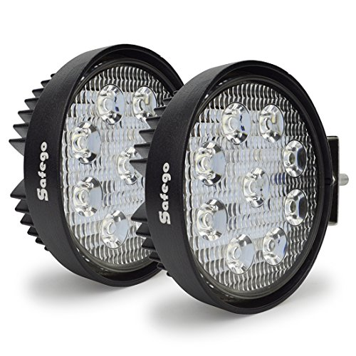 LED Pods 4 Roam Gentle Bar SAFEGO Round 2Pcs 27W Water-proof Flood Beam Cree LED Bar Work Gentle Immense Vivid Off Avenue Gentle Riding Fog Lamp for Truck ATV UTV Jeep Boat Tractor Tacoma 4X4,1Year Warranty