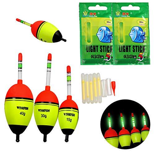 5 Allotment 40g EVA Floats +10pcs Glow Stick Fishing Floats Radiant Lights EVA Foam Floats