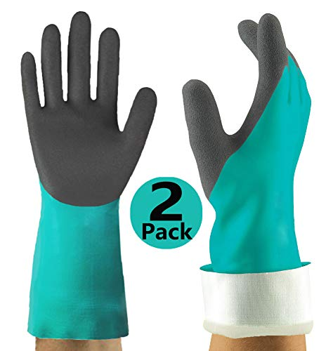Chemical Resistant Gloves 2pairs, Double Coating Plentiful Grip Water-Proof Work Gloves, Ideal for Household Kitchen Cleaning Fishing Auto Backyard Watering and More.