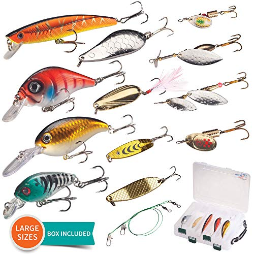 High Fishin Fishing No longer easy Lures Location with Box-Diverse ABS Plastic Crankbaits Minnow and Steel Spinners Spoons with Model out Box for Freshwater and Saltwater Easiest for Bass Trout Walleye Pike Perch Salmon