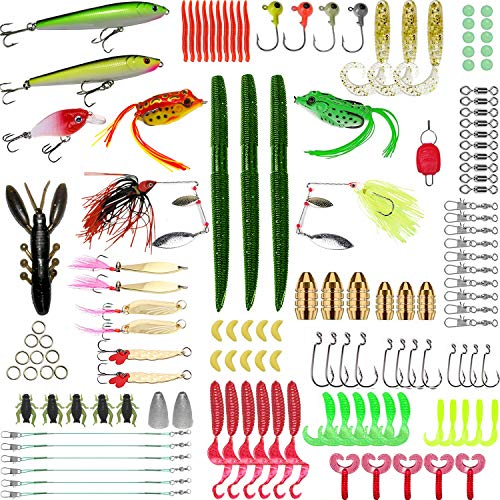 SHXH 137 Pcs Fishing Lures Equipment,Top-Water Lures Take care of Field,Baits Take care of In conjunction with Crank-baits Spinner-baits Plastic Worms Jigs and More Fishing Gear