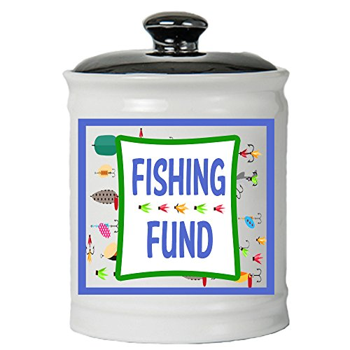 Cottage Creek Fishing Affords Fishing Fund Jar Round Ceramic Coin Bank/Fishing Money Piggy Bank Affords for Males [White]