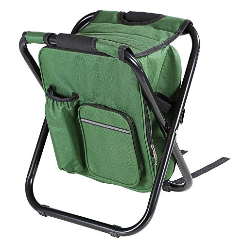 Fishing Backpack Chair, Portable Camping Stool, Foldable Solid Building Backpack Stool with Double Layer Oxford Fabric Cooler Gain for Fishing, Sea walk, Camping, Home and Outing (Green)
