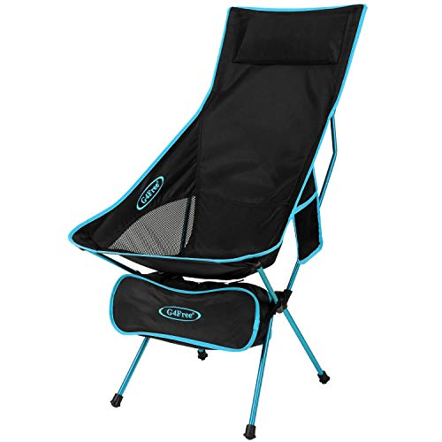 G4Free Gentle-weight Moveable Chair Outside Folding Backpacking Camping Lounge Chairs for Sports actions Picnic Seashore Hiking Fishing (Blue)
