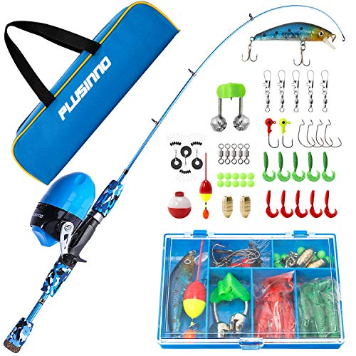 PLUSINNO Children Fishing Pole with Spincast Reel Telescopic Fishing Rod Combo Stout Kits for Boys, Girls, and Adults(Blue, 150CM 59.02In)