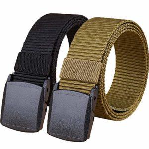 Hoanan 2 Pack 1.25″ Huge Defense force Tactical Belt, No Metal Webbing Nylon Net Belt(murky+brown)