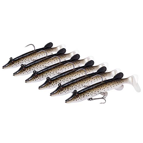 Bassdash Comfy Swimbait Bass Saltwater Fishing Lures Bait Crank Lead Fish Hooks, Built-in Lead Weight 4in 5in, 6-Pack (Sunless Gold, 5in/13cm)