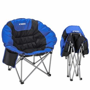 ENKEEO Camping Folding Chair Transportable Moon Saucer Chair Give a enhance to 330 LBS with Heavy Responsibility Metal Body Cosy Padded Spherical Seat for Outdoors, Picnic, Fishing, Yard, and Indoors, Elevate Gain Consist of