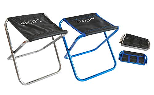 SNAPY 2-Pack Mini Folding Camping Stool, Lightweight Camp Stool, Transportable Folding Camp Chair, Ultralight Camping Chair for BBQ, Camping, Fishing, Scurry back and forth, Hiking (12″x11″x12.3″, Silver Grey & Blue)