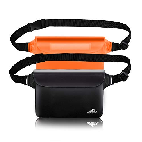 HEETA 2-Pack Water-resistant Pouch with Waist Strap, Clear Cloak Touchable Dry Receive with Adjustable Belt for Phone Valuables for Swimming Snorkeling Boating Fishing Kayaking (Orange & Sad, L)