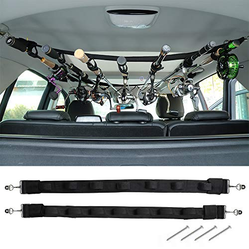 Dr.Fish Automobile Fishing Rod Racks Carrier 7 Rod Combos Holder Heavy Accountability Scamper Automobile Rod Saver Steel Clamp Fishing Pole Belt Strap for SUVs Wagons Vehicles
