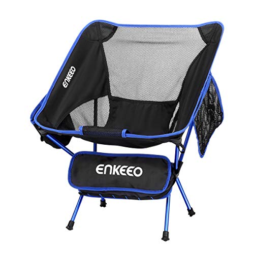 ENKEEO Camping Chair Folding Transportable Mesh Picnic Seat with Backrest, Pocket and Carry Discover, for Fishing, Hiking, Picnic and Dash