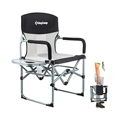 KingCamp Heavy Accountability Compact Camping Folding Mesh Chair with Facet Table and Address